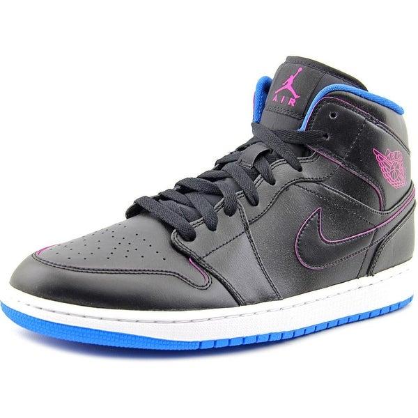 Jordan Air Jordan 1 Mid Men  Round Toe Synthetic Black Basketball Shoe