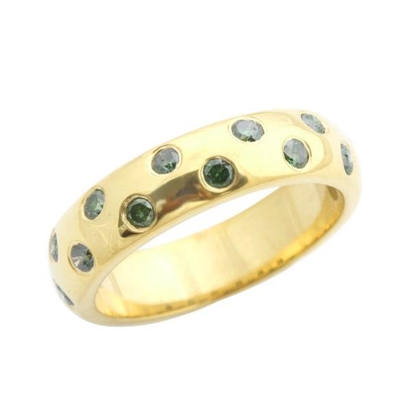 Beaitiful 0.50 Carat Bezel Set Green Diamond Wedding Band Ring