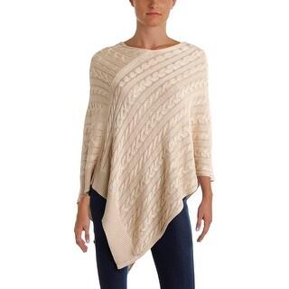 Lauren Ralph Lauren Womens Poncho Sweater Cable Knit Pointed Hem - L/XL