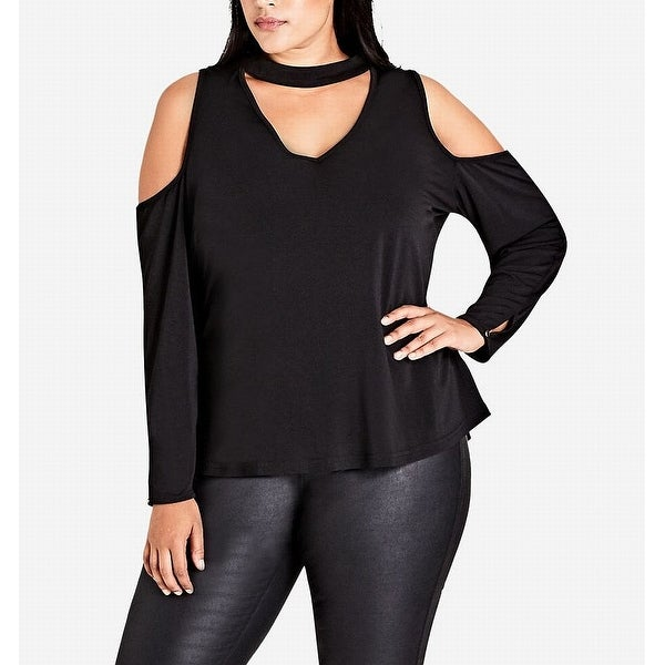 6ca7d32339 Shop City Chic Black Women s Size 24W Plus Cold-Shoulder Mock Neck Top - On  Sale - Free Shipping On Orders Over  45 - Overstock - 26928798