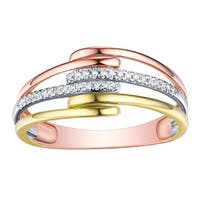 Prism Jewel 0.80MM 0.07CT G-H/I1 Natural Diamond Tri-Color Gold 3-Row Twisted Ring - White G-H
