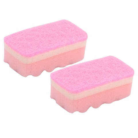 Kitchen Cleaning Tool Sponge Bowl Pot Multifunction Scrubber Pad Pink 2 Pcs