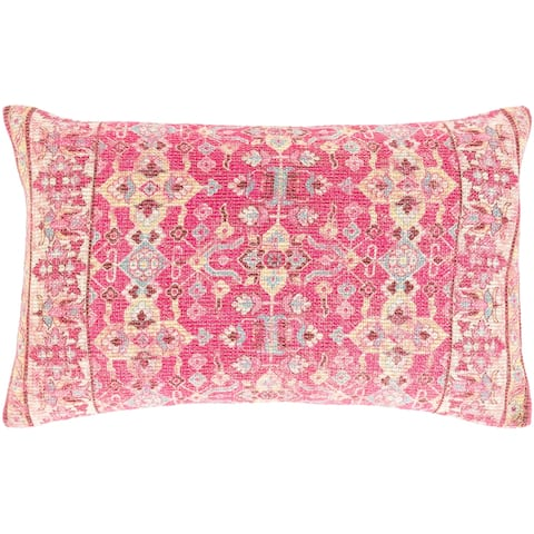 Millie Printed Floral Medallion Cotton Lumbar Throw Pillow