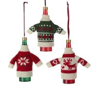 Pack of 12 Red, White and Green Knit Sweater Wine Bottle Christmas Ornaments 4.5""