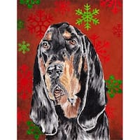 Coonhound Red Snowflake Christmas Flag Garden Size