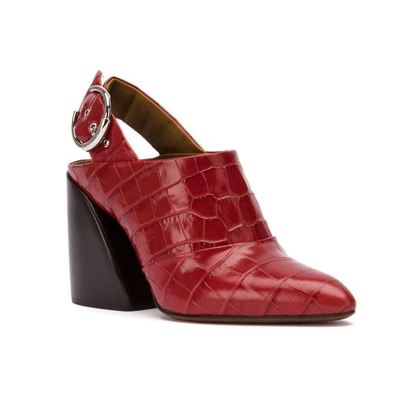 Chloé Women's Leather Croco Embossed Slingback Mule Pumps Red. Opens flyout.