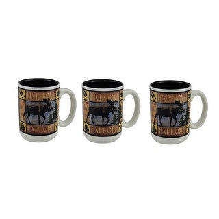 Live Love Explore 3 Piece American Expedition Ceramic Moose Mug Set