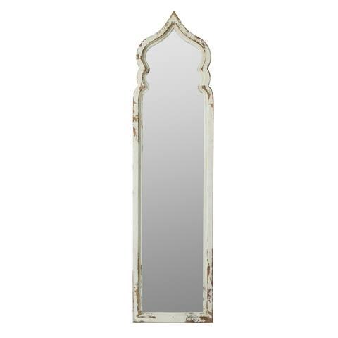 Weathered White 73-inch Moorish Inspired Floor Mirror