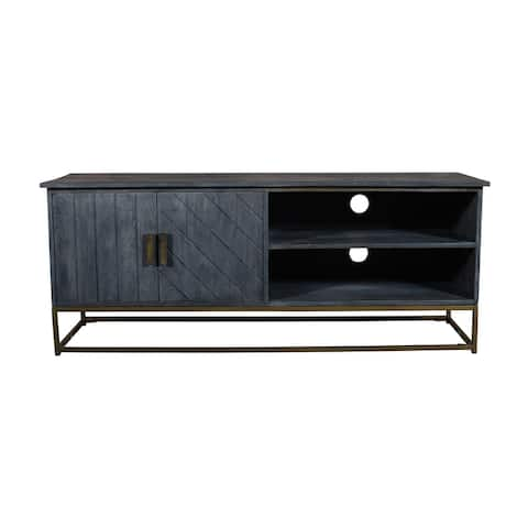53 Inches Plank Design 2 Door Mango Wood TV Media Cabinet with Metal Base, Gray