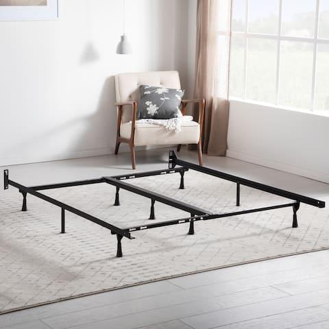 Brookside Universal Adjustable Metal Bed Frame with Center Support - Rug Rollers or Glides