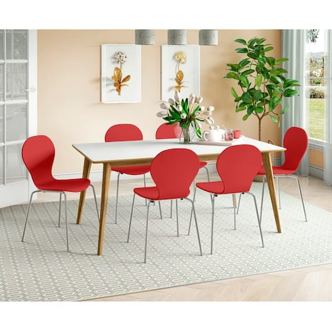 Carson Carrington Dattolo White/Natural 7-piece Dining Table and Dining Chairs Set