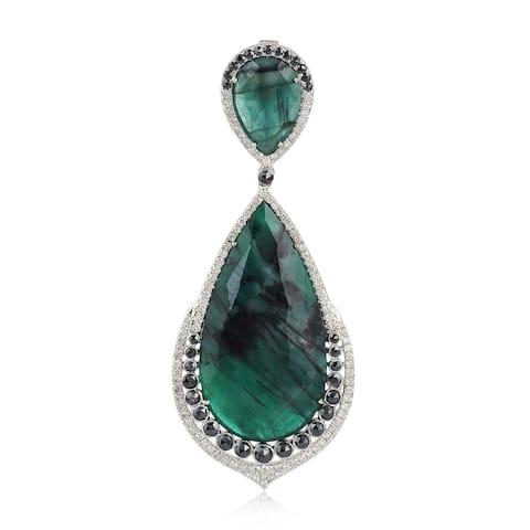 18Kt Gold Diamond Emerald Pendants Precious Stone Jewelry By Artisan
