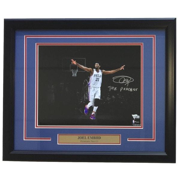 e94e5f3e9c0 Joel Embiid Signed Framed 11x14 Philadelphia 76ers Photo The Process  Fanatics