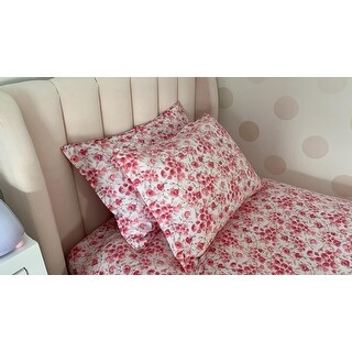 Printed Design Cotton Collection 400 Thread Count Poppy Duvet Set Red