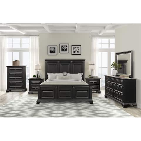 Renova Vintage Black Wood Traditional 6-piece Bedroom Set