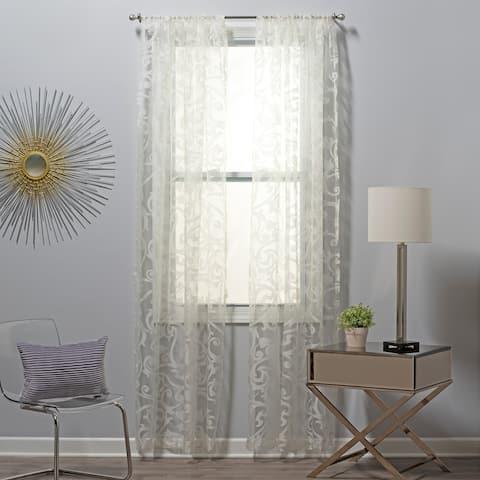 SureFit Filigree Burnout Pattern Sheer Curtain, Set of Two Panels