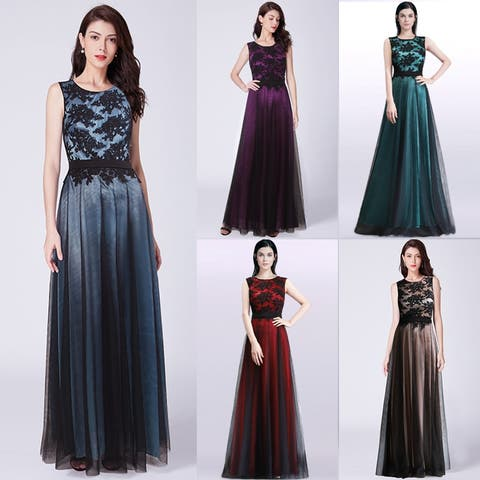afef8300ddd Ever-Pretty Women s A-Line Lace Tulle Prom Party Bridesmaid Maxi Dress 07545