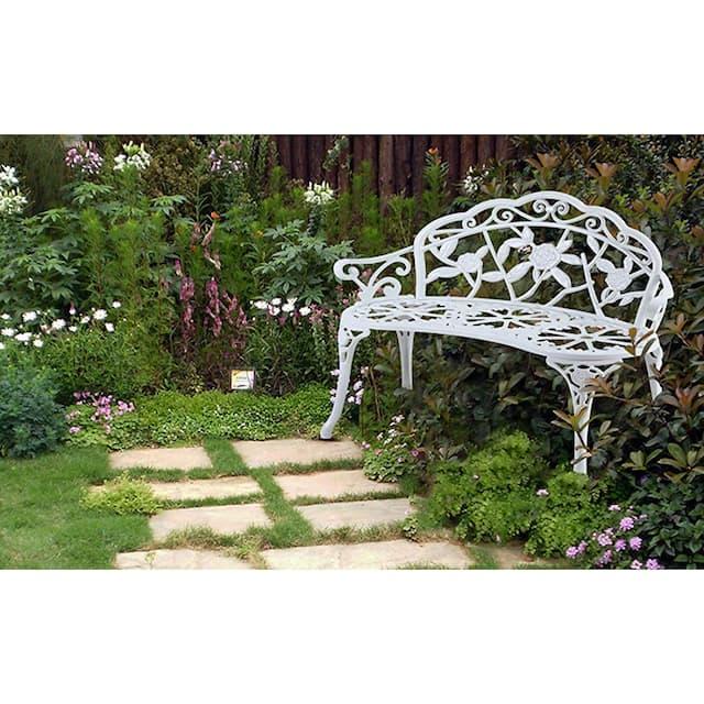 Aluminum Outdoor Loveseats Garden Bench - White