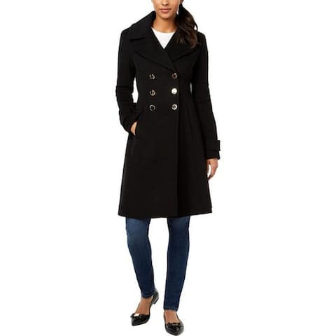 Ivanka Trump Women's Double Breasted Flared Sleeve Quilt Coat, Black, L