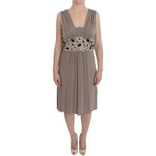 Roccobarocco Roccobarocco Beige Viscose A-Line Shift Crystal Dress - it46-l