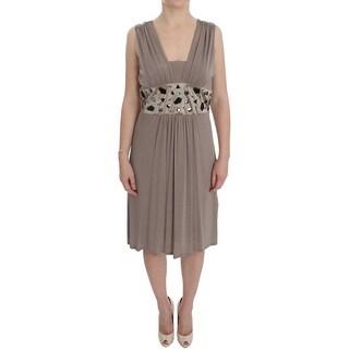 Roccobarocco Beige Viscose A-Line Shift Crystal Dress - it46-l