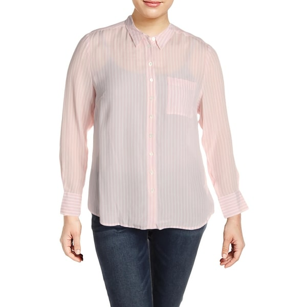 Basler Womens Plus Button-Down Top Silk Blend Striped - Rose White