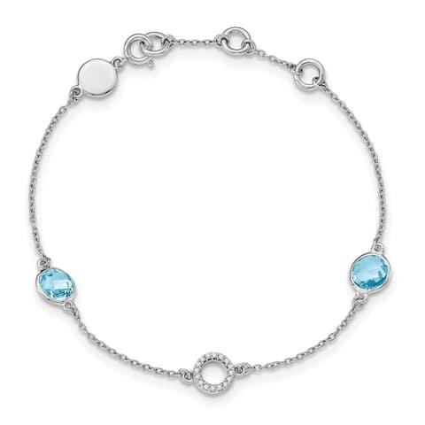 Sterling Silver Blue Topaz and 0.06 Cttw Diamond Bracelet by Versil