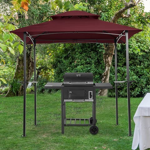 Red Finish Outdoor Grill Gazebo Shelter Tent with Fireproof top cloth sunscreen and anti-UV coating