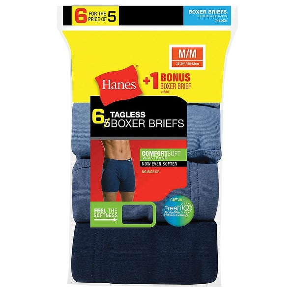 718c2dd4796a5 Shop Hanes Men s TAGLESS Boxer Brief with ComfortSoft Waistband 6-Pack  (Includes 1 Free Bonus Boxer Brief) - Size - S - Assorted - Free Shipping  On Orders ...