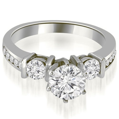 1.10 cttw. 14K White Gold Bar Set Round Cut Diamond Engagement Ring
