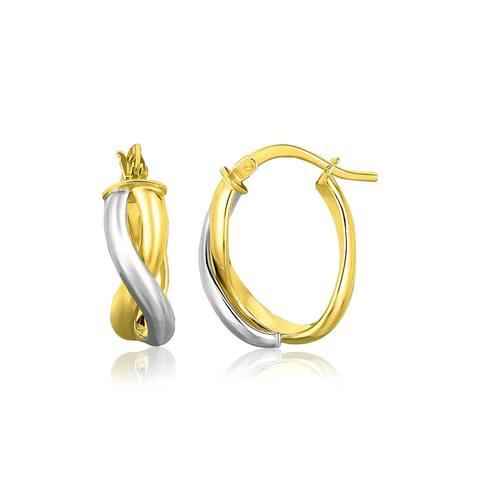 14k Two Tone Gold Oval Twisted Hoop Earrings