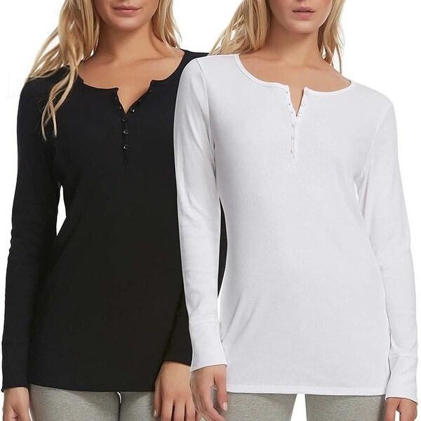 8804fdbfcfe588 Shop Felina Rib-Knit Long Sleeve Henley Tee 2PK Black White size XL ...