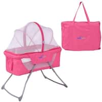 SafePlus Lightweight Foldable Baby Bassinet Rocking Bed Mosquito Net Carrying Bag Travel - Pink
