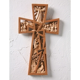 Christ Is Risen Brown Resin Wall Cross