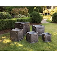 Set of 5 Square Geometric Design Garden Planters with a Faux Lead Finish