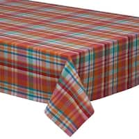 """Red and Blue Sherbet Plaid Patterned Square Tablecloth 52"""" x 52"""""""