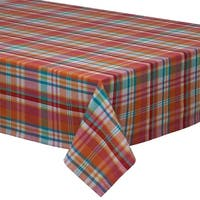 """Red and Blue Sherbet Plaid Patterned Tablecloths 60"""" x 120"""""""