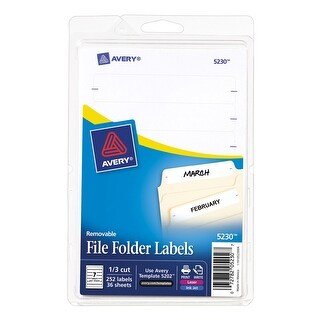 Avery Removable-Adhesive File Folder Labels For Laser and Inkjet Printers, 2/3 x 3-7/16 in, 1/3 cut, White, Pack of 252
