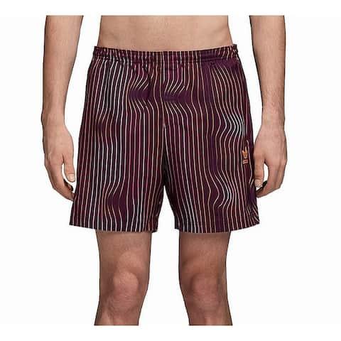Adidas Purple Mens Size Small S Striped Drawstring Trunks Swimwear