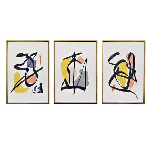 Plutus Brands Painting W/frame in Multi-Colored Metal Set of 3