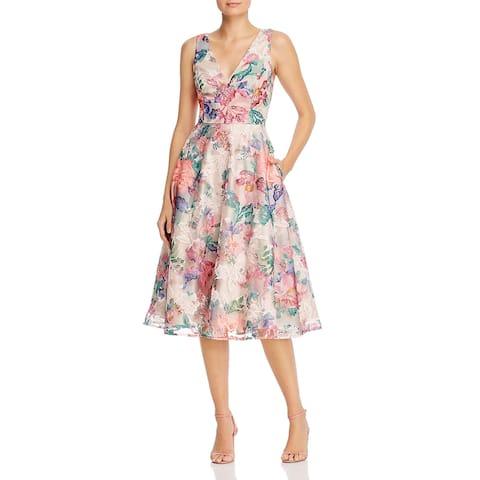 Eliza J Womens Fit & Flare Dress Embroidered Sleeveless - Beige Multi