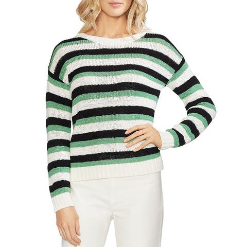 Vince Camuto Womens Crewneck Sweater Striped Drop Shoulder - Pearl Ivory