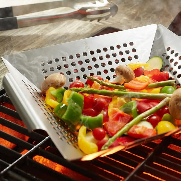 Grill Pan Stainless Steel Grill Topper Heavy Duty BBQ Grill Wok with Handles Vegetables Grill Basket Outdoor Grill Accessories Cookware Grill Utensils for Barbecue Cooking