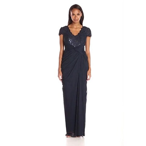 Adrianna Papell Women's Cap-Sleeve V-Neck Shirred Gown with Lace Bodice, Ink, 6M