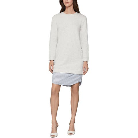 BCBG Max Azria Women's Layered French Terry Sweaterdress with Woven Hem - Heather Oatmeal