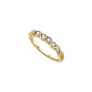 1/10Ctw Diamond Ladies Band Yellow-Gold 10K