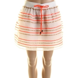 Milly Womens Paige Crinkled Striped Mini Skirt - 12