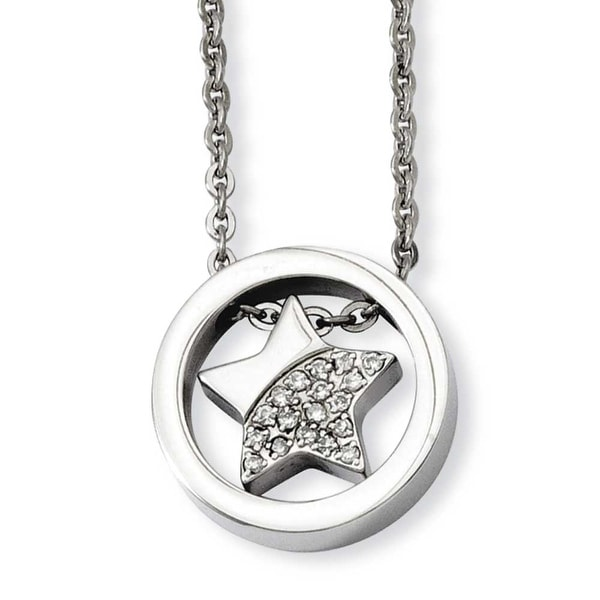 Stainless Steel CZ Star Inside Circle 18in Necklace (2 mm) - 18 in