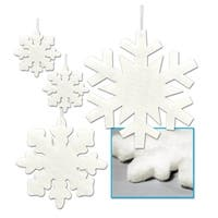 """Club Pack of 48 Assorted Christmas Fluffy Snowflakes 6"""" - 16"""""""