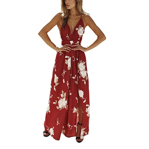 603d57b45d050 Shop Women's Strap Floral Print Lace Up Backless Deep V Neck Hot Split Beach  Maxi Dress - On Sale - Free Shipping On Orders Over $45 - Overstock -  27110793